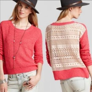 {FREE PEOPLE} Sweet Jane Coral Lace Sweater